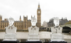 Ice sculptures of the three main party leaders in front of the Houses of Parliament.