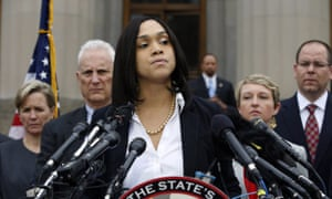 Marilyn Mosby, Baltimore state's attorney announces criminal charges against all six officers suspended after Freddie Gray suffered a fatal spinal injury while in police custody.