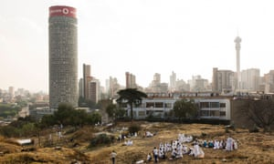 Prayer gatherings in the Hillbrow neighbourhood, overlooked by the Ponte tower, in 2014.