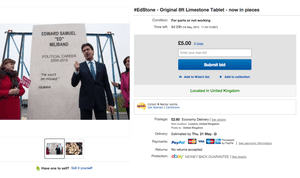 A spoof eBay listing for the EdStone