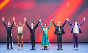 From left: Connor Scott, Jacob O'Connell, Archie Sullivan, Vidya Patel, Kieran Lai and Harry Barnes in the BBC Young Dancer 2015 final at Sadler's Wells in London.
