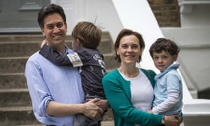 Ed Miliband, former leader of the Labour party, with his wife Justine Thornton and their children Daniel and Samuel.