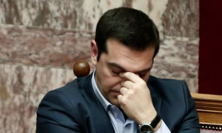 The Greek prime minister, Alexis Tsipras, in parliament.