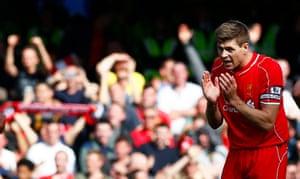 Steven Gerrard celebrates after scoring the equaliser.