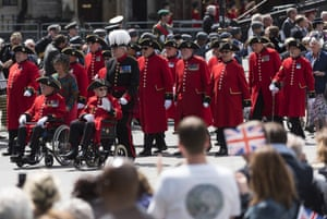Chelsea pensioners in the parade