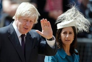 Boris Johnson and his wife Marina leave Westminster Abbey after attending a thanksgiving service