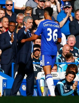 Jose Mourinho as he brings off Ruben Loftus Cheek.