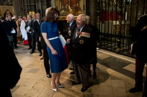 Samantha Cameron meets veteran Donald Hunter, a radio operator in the Second World War and founder of the Normandy Merchant Navy Memorial Trust, at the end of a service of thanksgiving