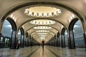 A man walks through the Mayakovskaya subway station in Moscow.