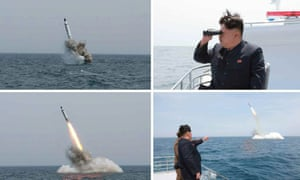 Images obtained by Yonhap News Agency show North Korean leader Kim Jong-un watching the test-fire of a ballistic missile believed to have been launched from underwater near Sinpo, on the northeast coast of North Korean.