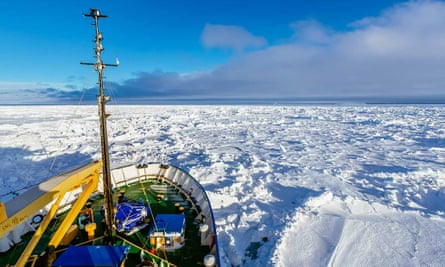 The MV Akademik Shokalskiy trapped in the ice at sea off Antarctica.