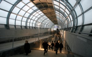 Commuters walk through Moscow's Strogino metro station in 2008.