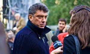 Russian opposition leader Boris Nemtsov attending a rally in memory of killed Russian journalist Anna Politkovskaya.