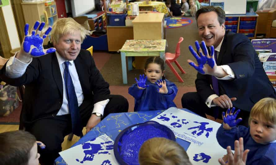 Hand-crafted narrative … Boris Johnson and David Cameron in another Tory photop-op