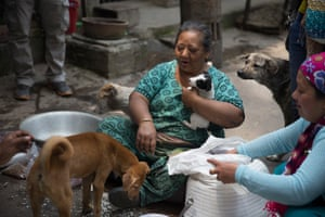 """Gyani Deula, """"the dog mother of Kathmandu"""", lives next to Ganesh temple in Kamaladi and looks after street dogs."""