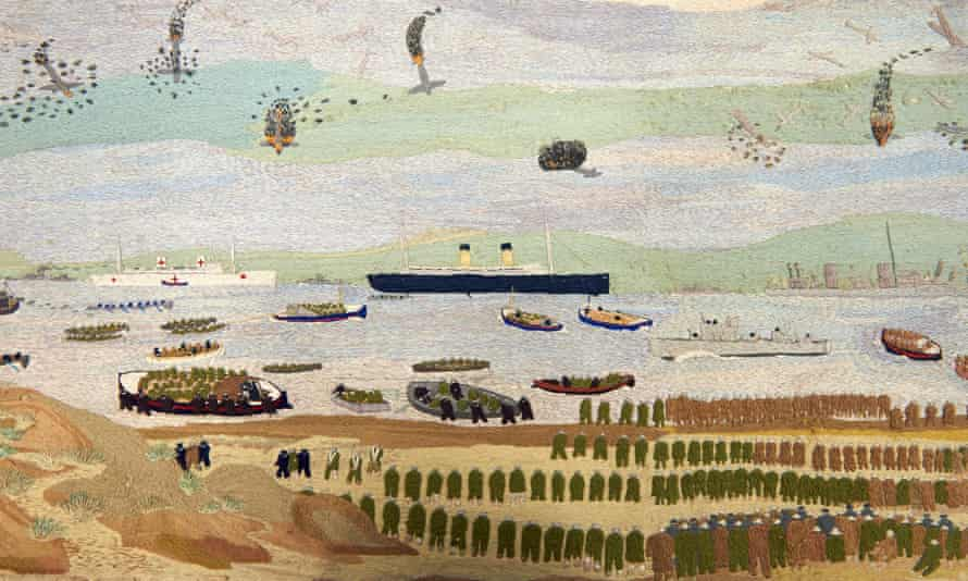 Detail from John Craske's Dunkirk embroidery showing at Norwich University.