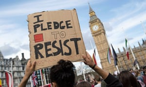 Demonstrators at an anti-austerity protest in central London