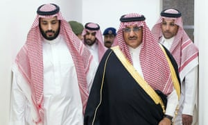 A handout file picture released by the Saudi Press Agency in March shows Saudi Defence Minister Mohammed bin Salman (L) and Second Crown Prince and Interior Minister Mohammed bin Nayef  arriving for a meeting with Saudi air forces officers to discuss plans and developments of the military operations against Yemen.