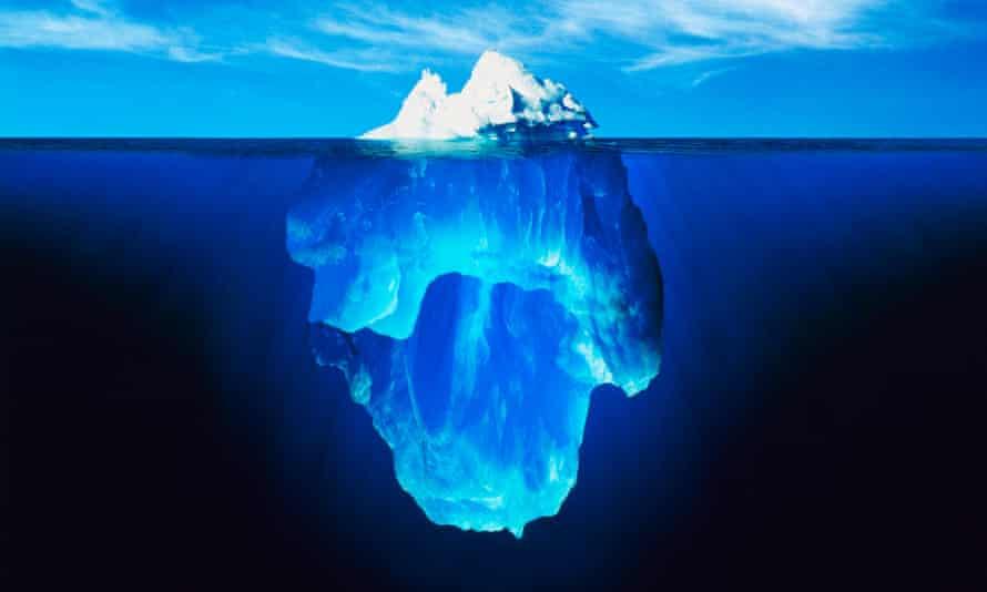 Sea ice and icebergs.