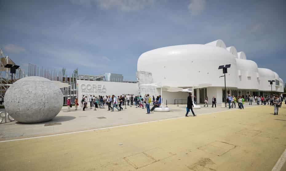 South Korea's 'futuristic white space-blob' at Expo 2015 in Milan, which opened on 1 May.