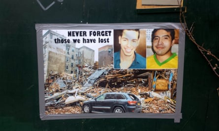 A sign remembering Moises Ismael Locón Yac and Nicholas Figueroa at the place where they were killed by a gas explosion.
