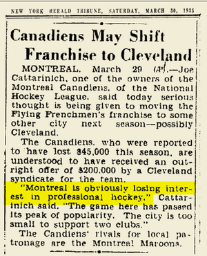 The Canadiens? To Cleveland? What?
