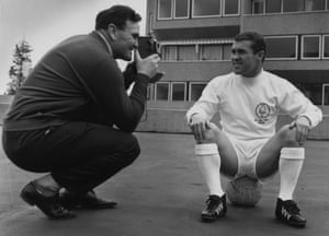 Don Revie, filming Leeds captain Bobby Collins in 1965.