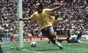 Brazil's Tostão and Pelé winning the 1970 World Cup final in style.