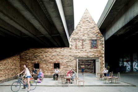 Folly for a Flyover … their second temporary events space was conceived as a little house trapped beneath a motorway.