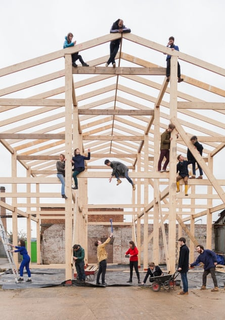 Yardhouse under construction … assembled with the collective spirit of an Amish barn-raising.