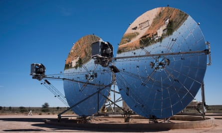 The 100-metre mirror dishes being tested by Ripasso in the Kalahari desert.