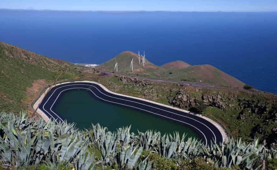 General view of the upper reservoir of the Gorona power station on the Spanish Canary island of El Hierro on March 28, 2014. El Hierro on June 27, 2014 inaugurated a hydro-wind power plant that will enable it, in the coming months, to become the first island in the world to be 100% self-sufficient in electricity from generated from renewables.