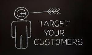 'Target your customers' image on blackboard