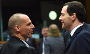 The Greek finance minister, Yanis Varoufakis, greets his British counterpart, George Osborne, in Brussels on Tuesday.