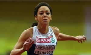 Katarina Johnson-Thompson competes in the women's pentathlon 60m hurdles during the 2015 European Athletics Indoor Championships in Prague.