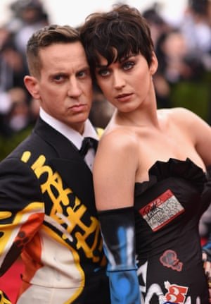 Katy Perry with Moschino designer Jeremy Scott at the Met Ball, both in Moschino