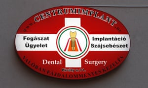 Sign of a dental centre in Budapest, Hungary.