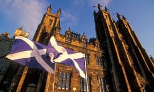 Edinburgh university buildings with st andrews flag or saltaire Edinburgh Midlothian Scotland UK