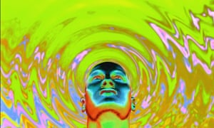 Psychedelic image of a head touching liquid.