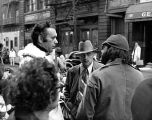 <strong>The Godfather: 128 Mott Street</strong> <br>The Little Italy home of the Corleone family's Genco Olive Oil business. The Don (Marlon Brando, centre) was shot just in front of the entrance. Brando is pictured here with director Francis Ford Coppola (right) and producer Al Ruddy (left). Today, it houses a Chinese market, the street now a part of Chinatown