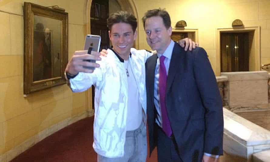 Former Liberal Democrat leader Nick Clegg meeting Joey Essex from ITV's The Only Way Is Essex.