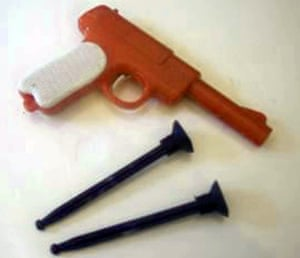 A toy gun with plastic darts similar to the one which Steve Easton had stuck up his nose for 44 years