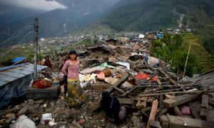 Woman in Nepal mountains after earthquake