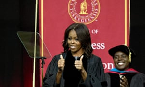 Michelle Obama gives her address at Tuskegee