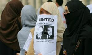Uzbek women protest against the massacre in London.
