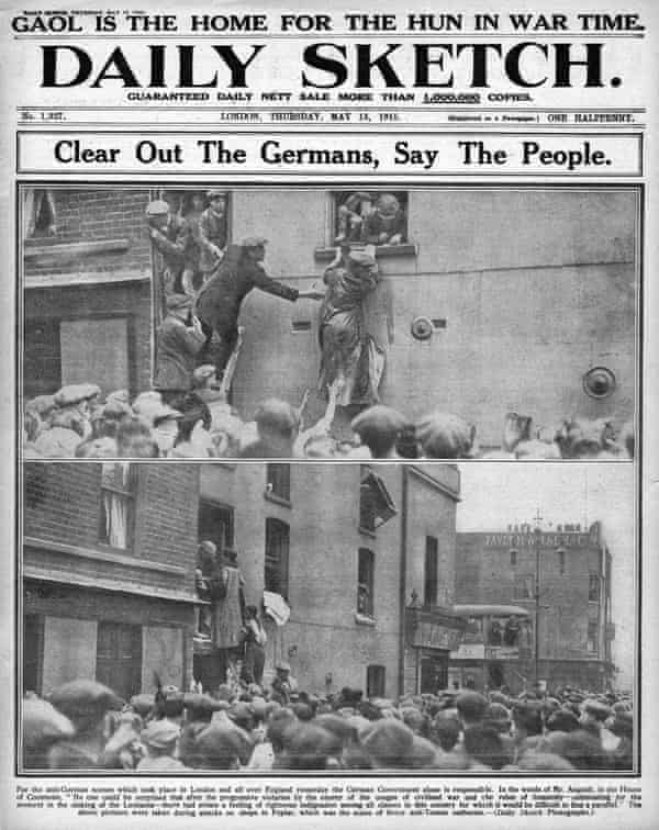 Daily Sketch front page reporting anti-German riots in London.