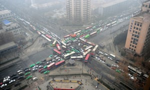 Road chaos after traffic lights broke down in Xi'an, China, in 2014. Traffic control sensors are vulnerable to hacking, said Cesar Cerrudo.