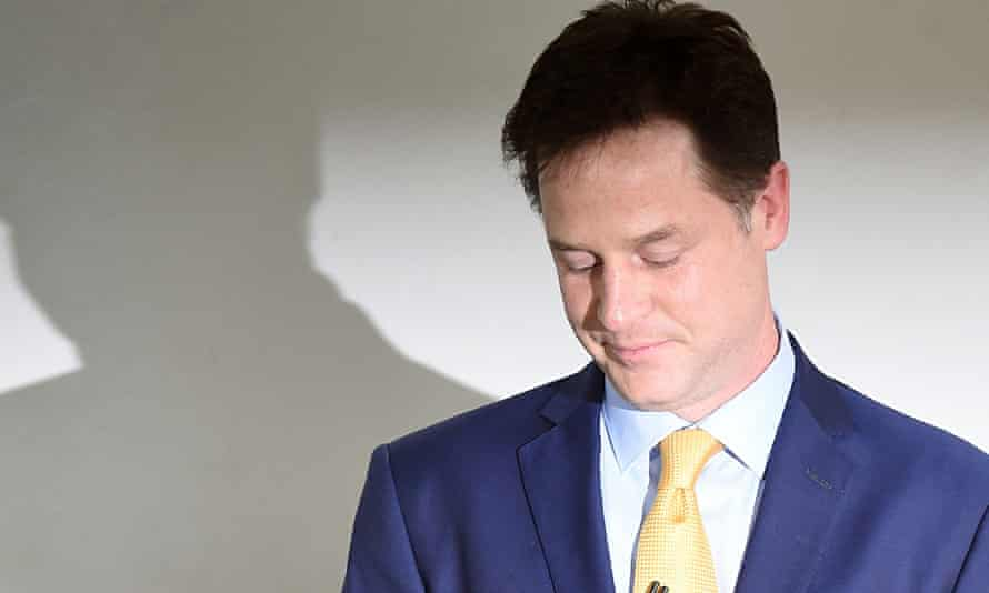 Nick Clegg at a press conference last Friday to announce his resignation as Liberal Democat leader