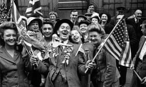 Crowds celebrating VE Day, 8 May 1945, London.
