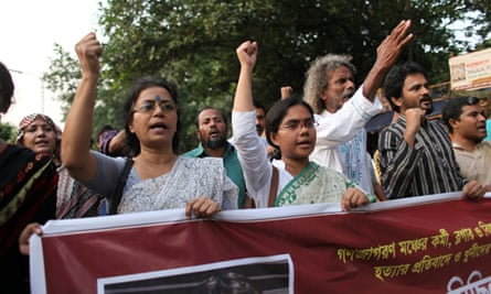 A protest in Dhaka against the murder of blogger Ananta Bijoy Das